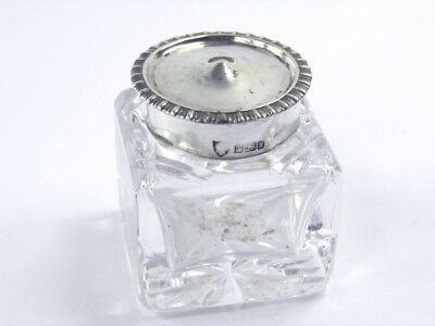 Antique .925 sterling silver & cut glass inkwell J & J Maxfield Sheffield 1902