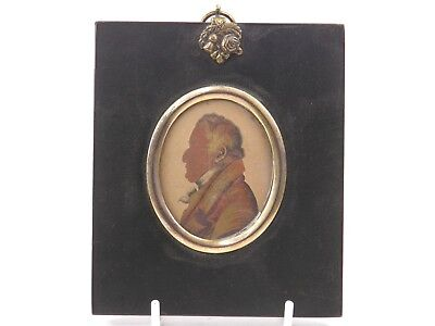 Antique 19th century English portrait miniature silhouette painting of gentleman