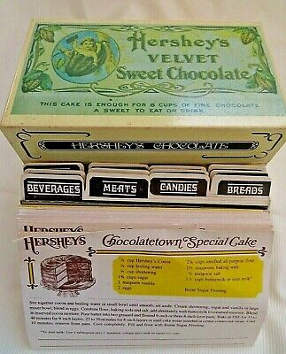 Vintage Metal Recipe Box Hershey's Velvet Chocolate Index Card Size w/ Recipes