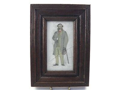 Antique 19th century watercolour painting portrait of a gentleman with cane