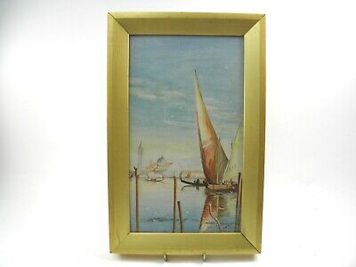 Antique watercolour painting Venetian scene with boats & gondolas