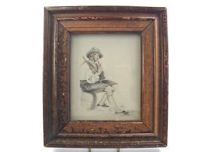 Antique 19th century watercolour painting portrait of a gentleman & bagpipes