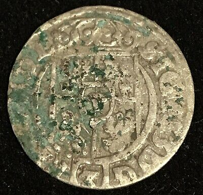 the rare 1623 SILVER Coin Ancient Christian Cross ? Pirate Chest Era Old Europea