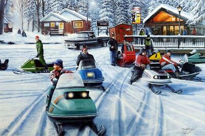 Kevin Daniel Poker Runs II Snowmobile Signed/Numbered Art Print 29 x 19