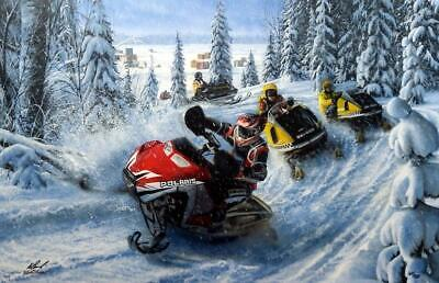 Kevin Daniel Sled Heads  Snowmobile Art Print Signed and Numbered