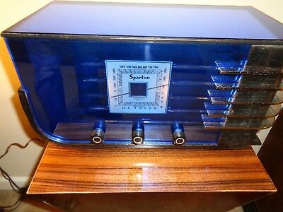 Sparton model 557 art deco radio in blue mirrors and chrome!