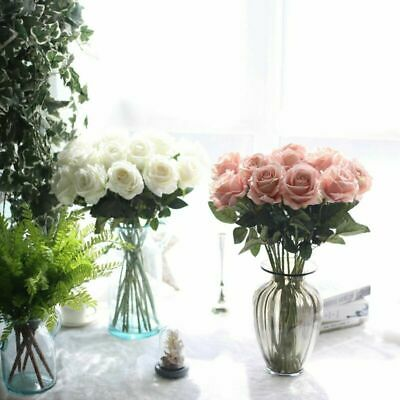 Flowers 10Heads Artificial Silk Open Roses  Bridal Bouquets Wedding