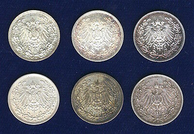 Germany Empire  1/2 Mark Silver Coins, Lot Of (6): 1914-A, 1915-A-D-E-F, 1918-A