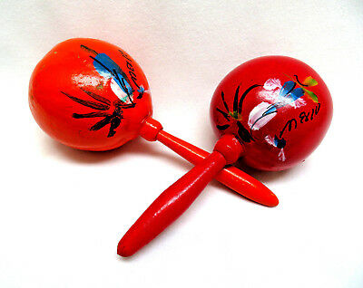 Genuine Mexican Maracas Hand Painted Rumba Shakers Percussion Instrument Mexico