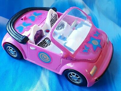 Mattel 2001 Polly Pocket Doll Convertible Pink Toy Car with Changeable Seats.