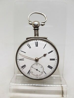 Antique solid silver fusee pair cased London pocket watch 1884 working ref301
