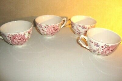 4- Johnson Bros Rose Chintz Pink Tea Cups Made In England