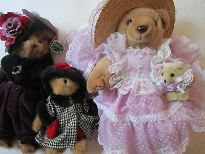 3 Adorable Plush Bears Bearly People Bearington Boyds Lilac Frilly Dress Velvet