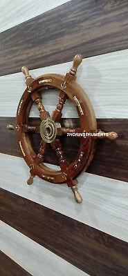 Vintage Nautical Brown Wooden Ship Wheel Boat Steering Wall Decor