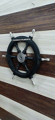 Collectible Black Wooden Ship Wheel Boat Steering Nautical Wall Decor Item