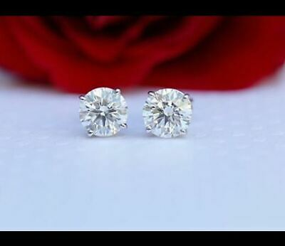 2 Ct Round Cut  D/VVS1 Diamond Solitaire Stud Earrings In 14K White Gold Finish