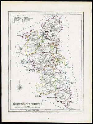 1845 Original Antique Map of BUCKINGHAMSHIRE by Lewis & Co