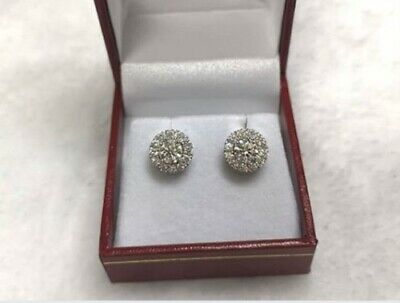 1 Ct Round Cut D/VVS1 Diamond Halo Stud Earrings In Solid 14K White Gold Finish
