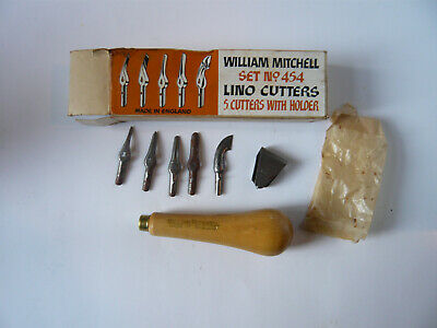 Set no. 454 William Mitchell Lino Cutters 5 cutters with unused handle