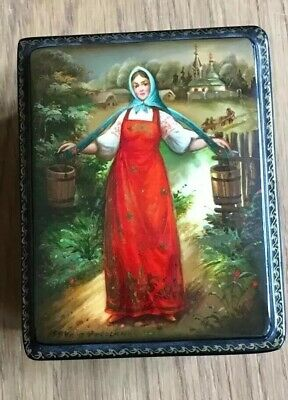 Russische Lackdose, Russian Lacquer Box, Fedoskino 1994