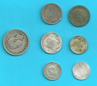 INTERESTING  silver coins job lot inc  Mexican silver 20 centavos 1905 sixpence