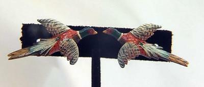 Vtg 1940's Takahashi Style Hand Carved & Hand Painted Pheasant Screw on Earrings