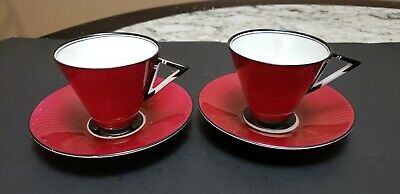 Two Antique Shelley Footed Demitasse Cup & Saucer Burgundy With Geometric Handle