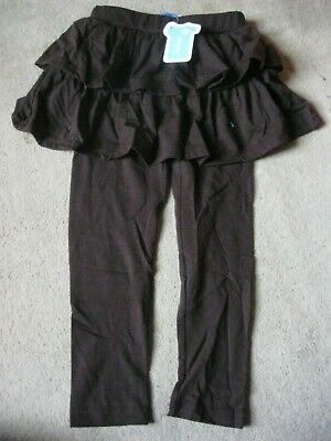Girls Brown Plain Leggings By Mozare With Frill Top New In Packet Age 3 - 4 Yrs