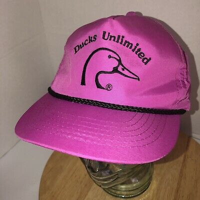 f888f220ac9 Vintage DUCKS UNLIMITED Pink Nylon Hat Cap Snapback Rope Cord Licensed  YoungAn