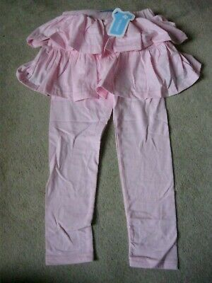 Girls Pink Plain Leggings By Mozare With Frill Top New In Packet Age 5 - 6  Yrs