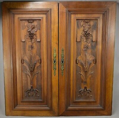 Pair French Antique Hand Carved Walnut Wood Grape Wheat Panel Cabinet Door