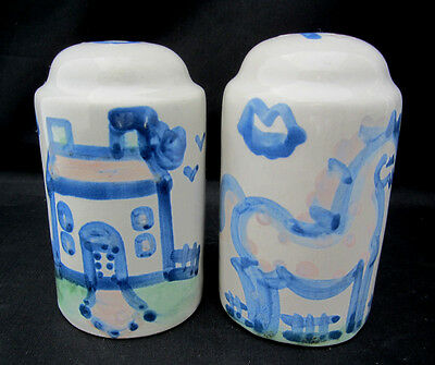 Salt Pepper Shakers M A Hadley Pottery Louisville Whimsical Blue Horse House A+