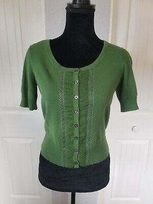 44d0d8650f ANTHROPOLOGIE GUINEVERE WOMENS Thora Sweater Size S Green Floral 3 4 ...