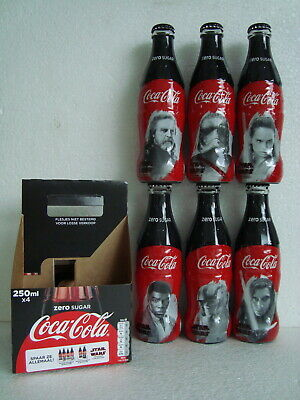 """RARE Limited Coca Cola """"STAR WARS"""" Glass Bottle set from the NETHERLANDS 2017"""