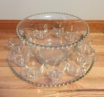 Candlewick Punch Bowl Set Plate/Bowl/11 Cups Imperial Glass Co.
