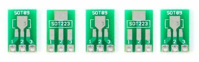 5 x Double Side SMD SOT89 SOT223 to DIP 2.54mm Adapter PCB Board Converter 5PCS