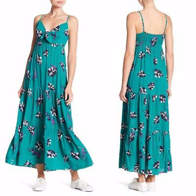 94e1f20e7705 NEW SOPRANO Boho GREEN Floral TROPICAL Tiered Patterned KNOT FRONT Maxi  DRESS XL