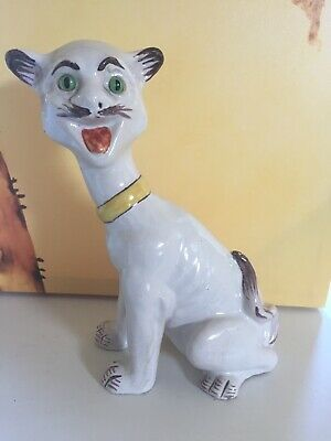 19th CENTURY MOSANIC FRENCH FAIENCE CAT STYLE~GALLE DES VRES GLASS EYES~ANTIQUE