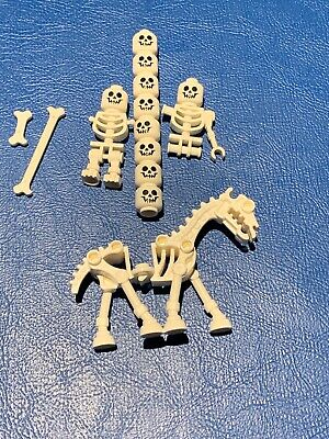 Lego Lot Of White Skeleton Horse & Partial Mini figures And Heads
