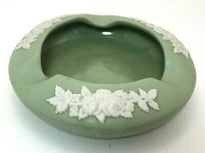 EnCanada Art Pottery Ashtray Round Sage Green Small Ash Tray 3-Slot Floral
