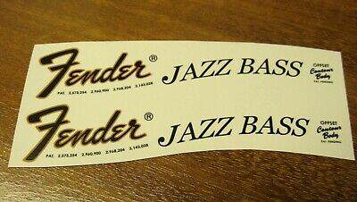Fender Jazz Bass Decal Headstock Waterslide Decals Vintage Guitar 1968 1975 1966