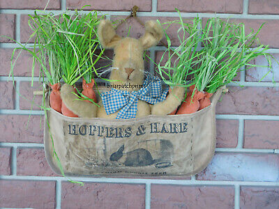 Primitive Spring Easter Bunny Rabbit with Carrots in Apron Doll Decoration