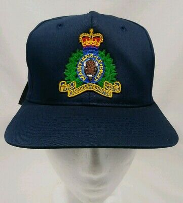 566f864ed0a Royal Canadian Mounted Police Vintage Blue Snapback Cap Hat New Old Stock  Canada