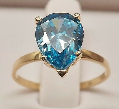 MINT 14kt YELLOW GOLD 3 1/2 cttw PEAR SHAPED BLUE TOPAZ COCKTAIL RING size 6