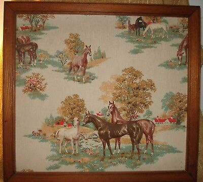Vintage  3D Raised Fabric Relief Equestrian Horse Art Picture Framed