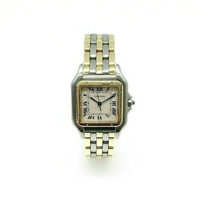 Cartier Panthere Quartz 3 Row 18K Yellow Gold Stainless Steel Watch Ref # 183949