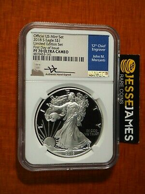 2018 S Proof Silver Eagle Ngc Pf70 Mercanti First Day From Limited Edition Set