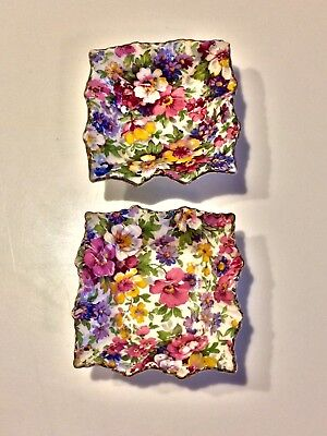 Two Vintage James Kent Ltd Du Barry Chintz Nut Dishes, Ruffled, Mint / Trinket