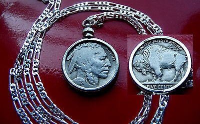 "American Buffalo Nickel Pendant  on a  Classic 30"" 925 Sterling Silver Chain"