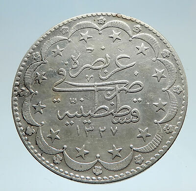 1909 1327AH TURKEY Ottoman Empire Sultan Genuine Silver 20K Islamic Coin i75231